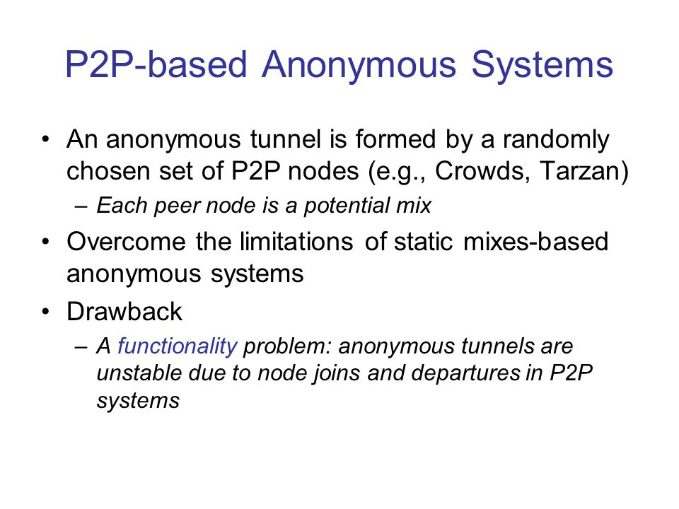 Fault-tolerant to Node Failures For a 10,000 node P2P system with 5,000 tunnels (each tunnel's length is 5): (1) TAP's tunnels are more fault-tolerant to node failures than current tunneling techniques; (2) A higher replication factor k makes TAP's tunnels more fault-tolerant to node failures