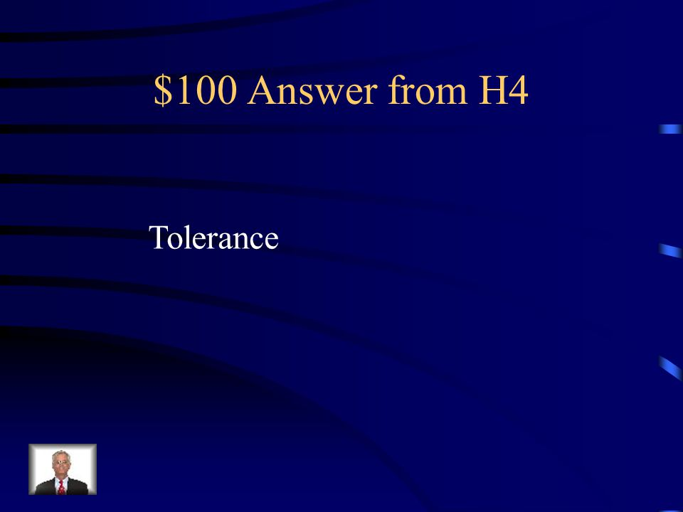 $100 Question from H4 The practice of allowing or respecting the nature, beliefs, or behavior of others