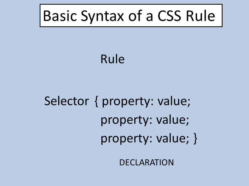 Basic Syntax of a CSS Rule Selector{ property: value; Rule DECLARATION property: value; property: value; }