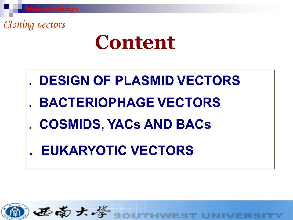 Section H Cloning Vectors Molecular Biology