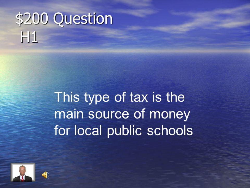 $100 Answer H1 Sales Tax