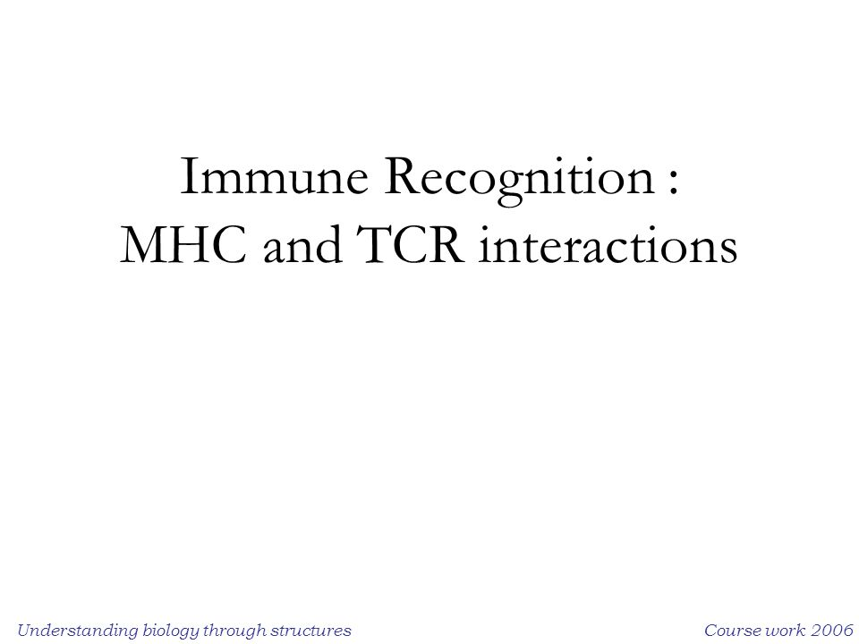 Understanding biology through structuresCourse work 2006 Immune Recognition : MHC and TCR interactions
