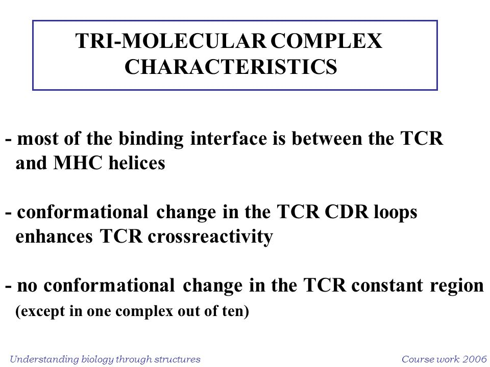 Understanding biology through structuresCourse work 2006 TRI-MOLECULAR COMPLEX CHARACTERISTICS - most of the binding interface is between the TCR and MHC helices - conformational change in the TCR CDR loops enhances TCR crossreactivity - no conformational change in the TCR constant region (except in one complex out of ten)
