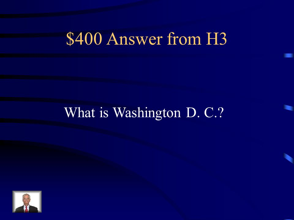 $400 Question from H3 The area that slavery was abolished.