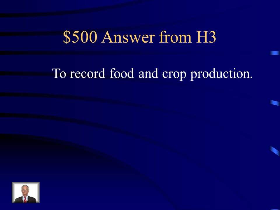 $500 Question from H3 This is why writing emerged in all Ancient Civilizations.