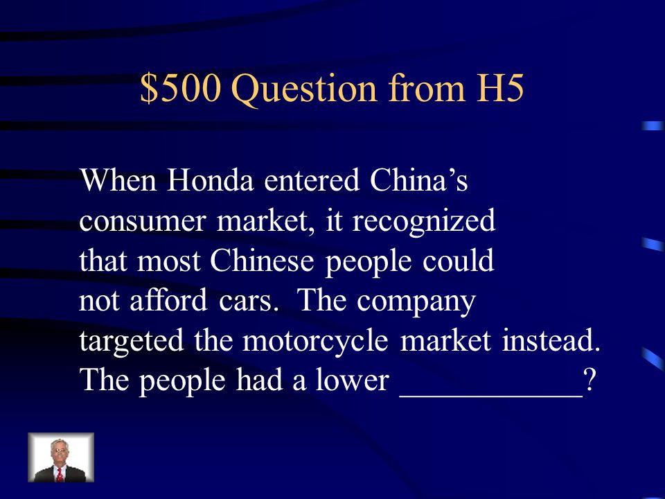 $400 Answer from H5 Entrepreneurship