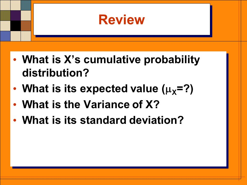 Review What is X's cumulative probability distribution.