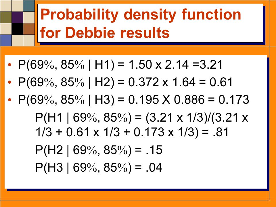 Probability density function for Debbie results P(69 , 85  | H1) = 1.50 x 2.14 =3.21 P(69 , 85  | H2) = 0.372 x 1.64 = 0.61 P(69 , 85  | H3) = 0.195 X 0.886 = 0.173 P(H1 | 69 , 85  ) = (3.21 x 1/3)/(3.21 x 1/3 + 0.61 x 1/3 + 0.173 x 1/3) =.81 P(H2 | 69 , 85  ) =.15 P(H3 | 69 , 85  ) =.04 P(69 , 85  | H1) = 1.50 x 2.14 =3.21 P(69 , 85  | H2) = 0.372 x 1.64 = 0.61 P(69 , 85  | H3) = 0.195 X 0.886 = 0.173 P(H1 | 69 , 85  ) = (3.21 x 1/3)/(3.21 x 1/3 + 0.61 x 1/3 + 0.173 x 1/3) =.81 P(H2 | 69 , 85  ) =.15 P(H3 | 69 , 85  ) =.04