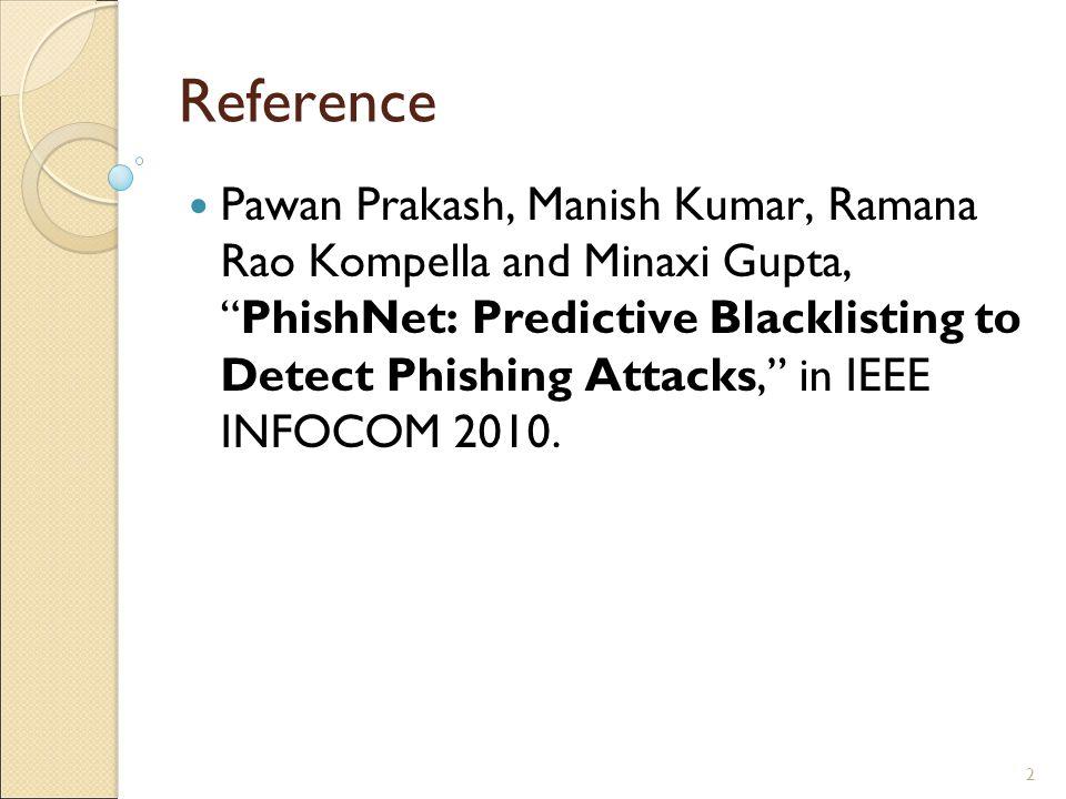 2 Reference Pawan Prakash, Manish Kumar, Ramana Rao Kompella and Minaxi Gupta, PhishNet: Predictive Blacklisting to Detect Phishing Attacks, in IEEE INFOCOM 2010.