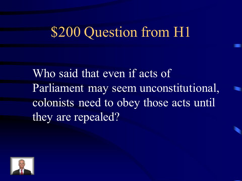 $100 Answer from H1 Proclamation of 1763