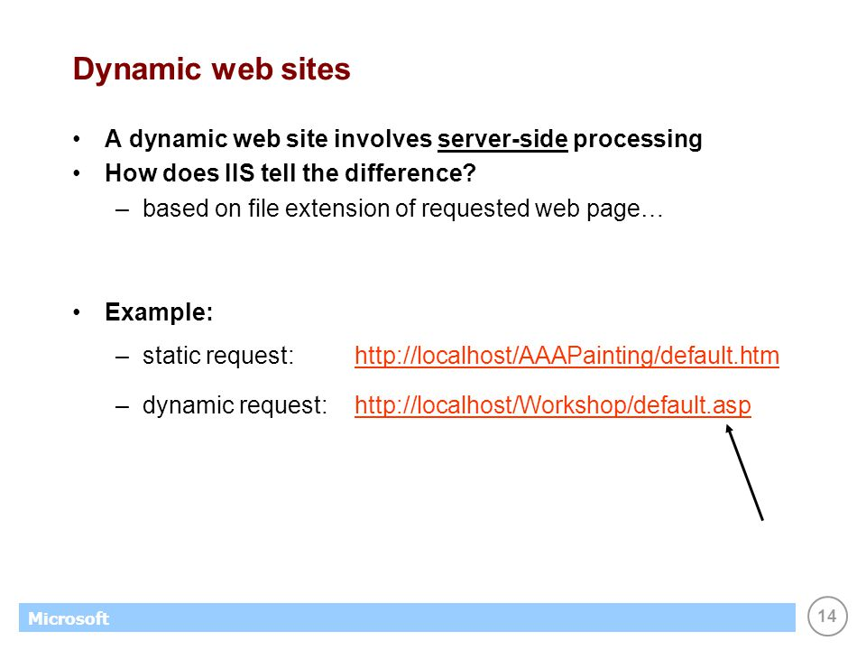 14 Microsoft Dynamic web sites A dynamic web site involves server-side processing How does IIS tell the difference? –based on file extension of reques