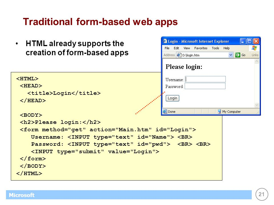 21 Microsoft Traditional form-based web apps HTML already supports the creation of form-based apps Login Please login: Username: Password: