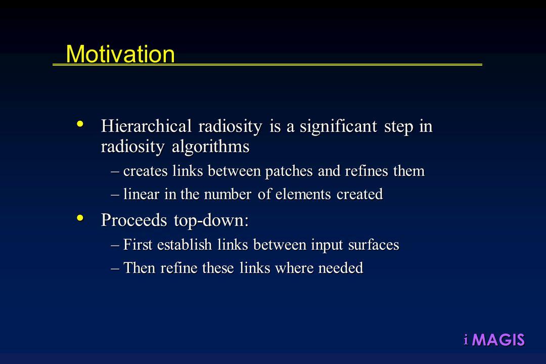 MAGISiMotivation Hierarchical radiosity is a significant step in radiosity algorithms Hierarchical radiosity is a significant step in radiosity algori