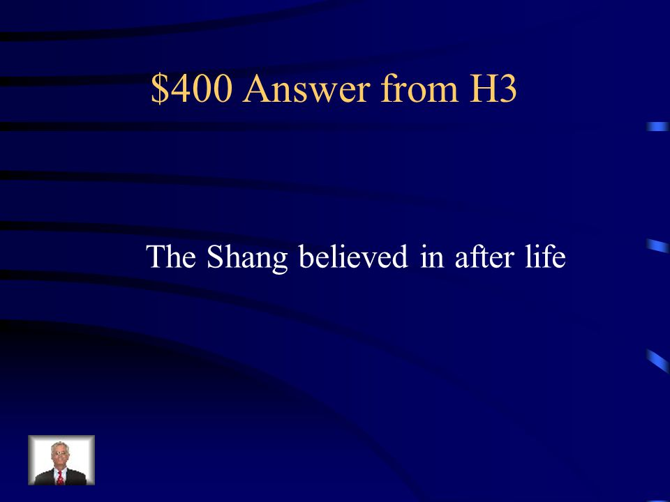 $400 Question from H3 Finding weapons and food buries with kings told scientist what?