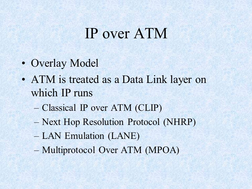 IP over ATM Overlay Model ATM is treated as a Data Link layer on which IP runs –Classical IP over ATM (CLIP) –Next Hop Resolution Protocol (NHRP) –LAN Emulation (LANE) –Multiprotocol Over ATM (MPOA)