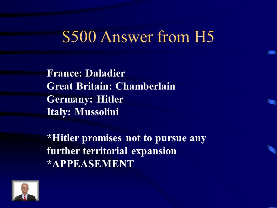 $500 Question from H5 Major Nations & their leaders who participated in the Munich Conference.