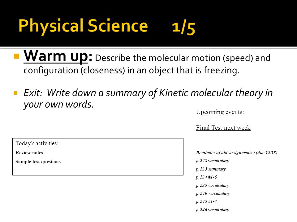  Warm up: How is a theory different from a hypothesis.