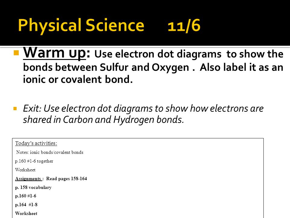  Warm up: Use electron dot diagrams to show the bonds between Sulfur and Oxygen.