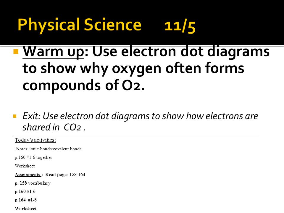  Warm up: Use electron dot diagrams to show why oxygen often forms compounds of O2.