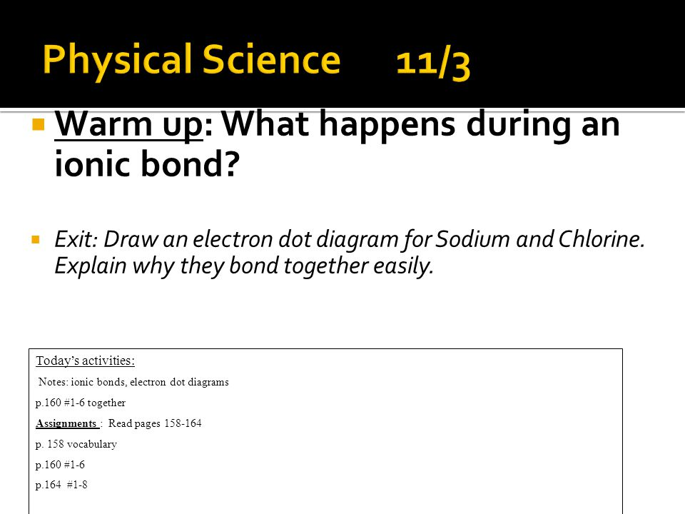  Warm up: What happens during an ionic bond.