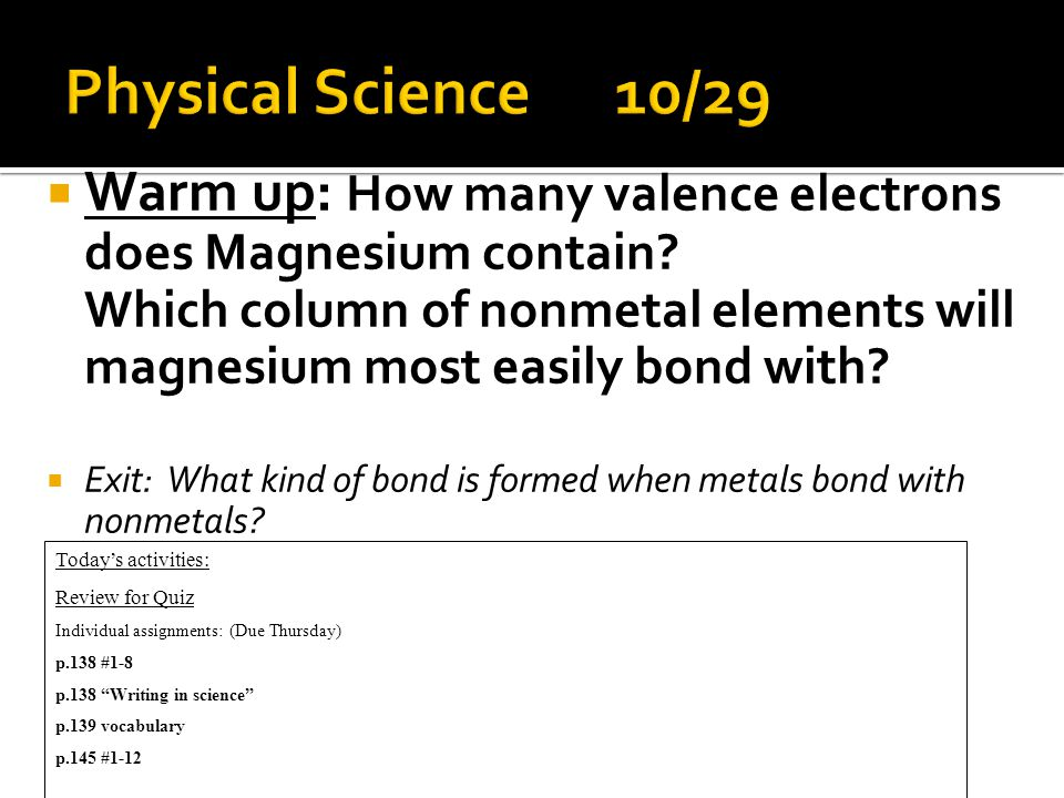  Warm up: How many valence electrons does Magnesium contain.