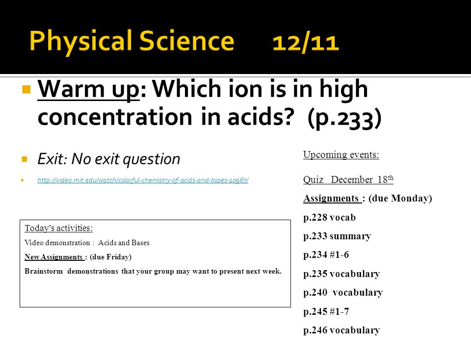  Warm up: Write one fact about an element from presentation.
