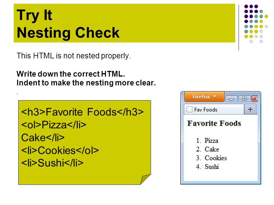 Favorite Foods Pizza Cake Cookies Sushi Try It Nesting Check This HTML is not nested properly. Write down the correct HTML. Indent to make the nesting