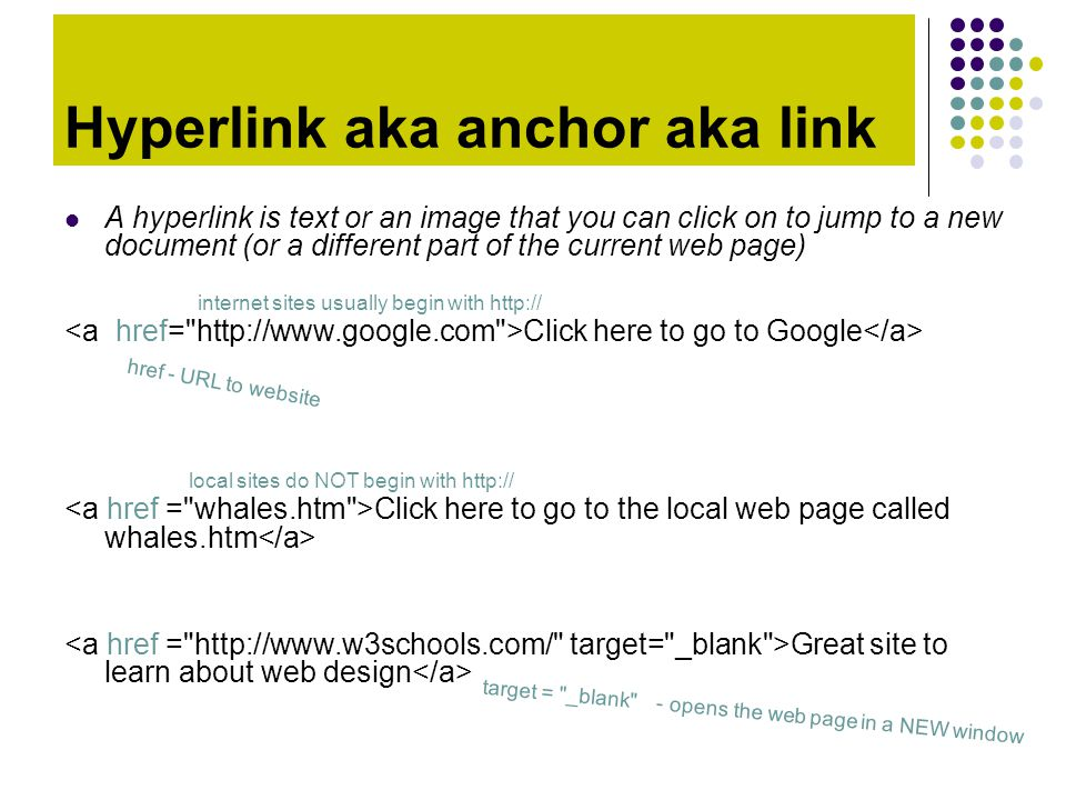 Hyperlink aka anchor aka link A hyperlink is text or an image that you can click on to jump to a new document (or a different part of the current web