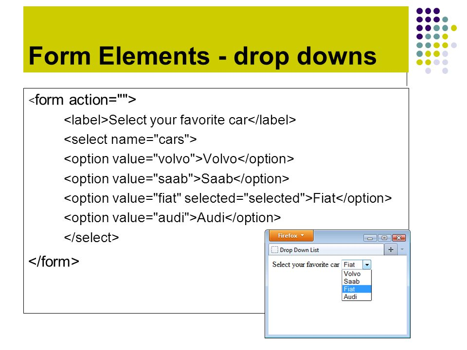 Form Elements - drop downs Select your favorite car Volvo Saab Fiat Audi