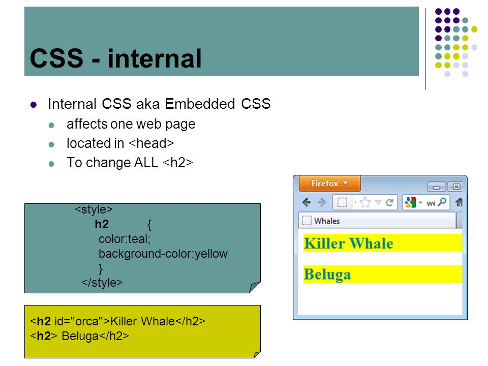 CSS Internal CSS aka Embedded CSS affects one web page located in To change ALL CSS - internal h2{ color:teal; background-color:yellow } Killer Whale