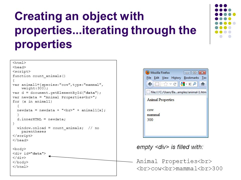 Creating an object with properties...iterating through the properties function count_animals() { var animal1={species: