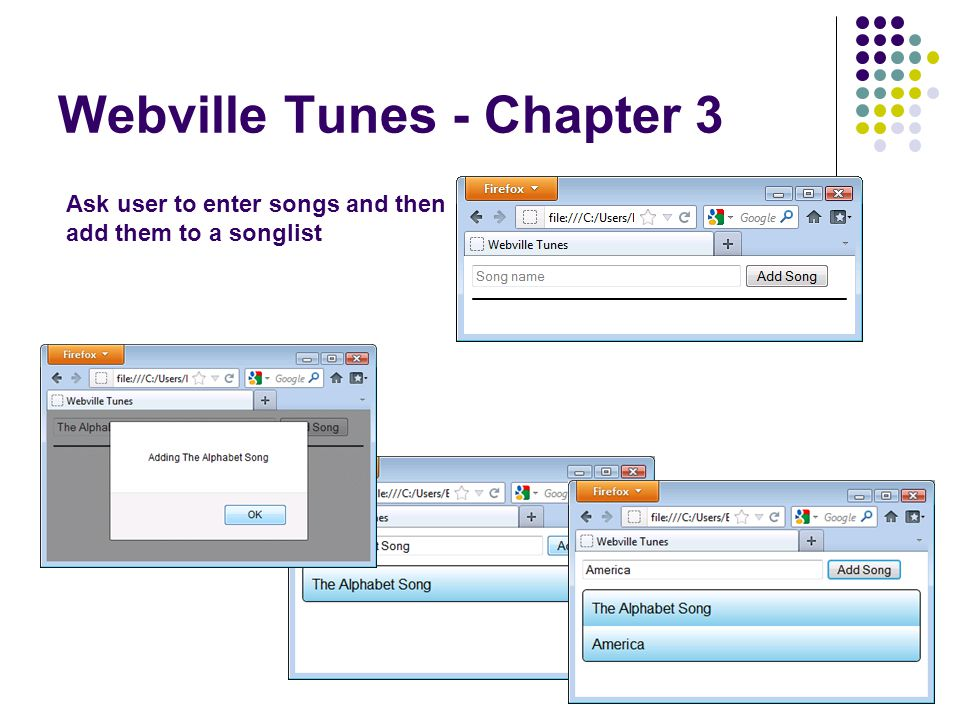Webville Tunes - Chapter 3 Ask user to enter songs and then add them to a songlist