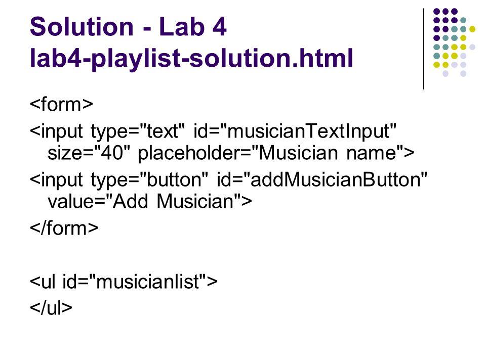 Solution - Lab 4 lab4-playlist-solution.html