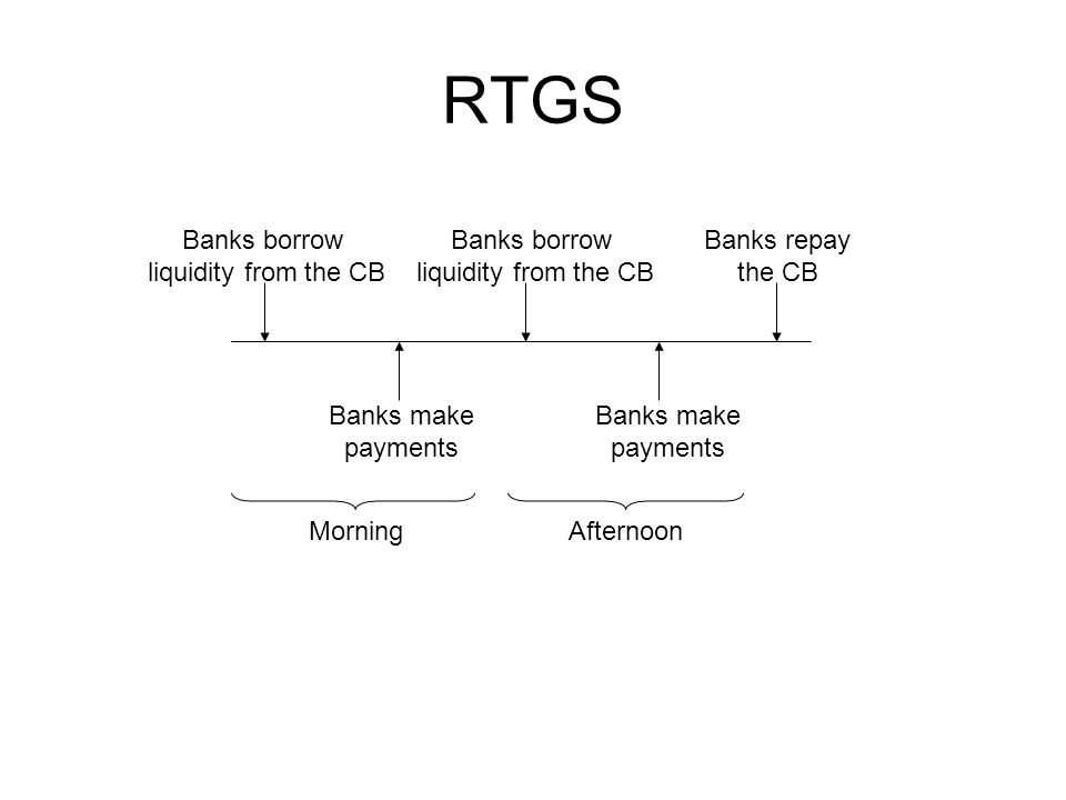 RTGS Banks borrow liquidity from the CB Banks make payments Banks borrow liquidity from the CB Banks make payments Banks repay the CB MorningAfternoon
