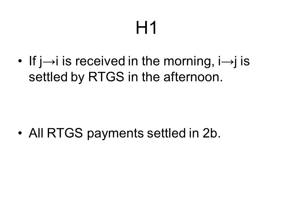 H1 If j→i is received in the morning, i→j is settled by RTGS in the afternoon.
