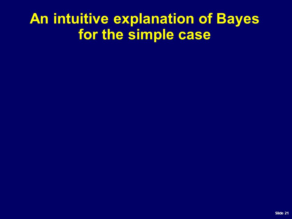Slide 21 An intuitive explanation of Bayes for the simple case