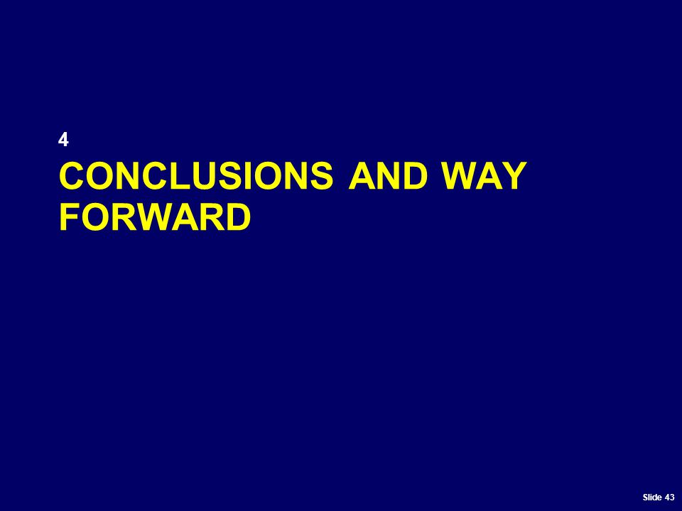 Slide 43 CONCLUSIONS AND WAY FORWARD 4