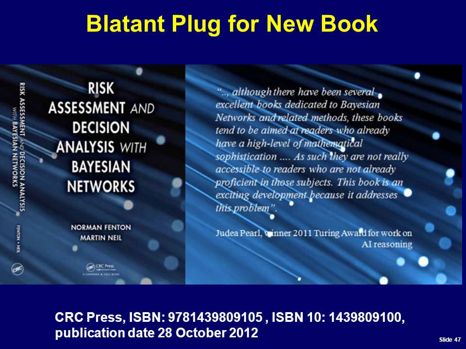 Slide 47 Blatant Plug for New Book CRC Press, ISBN: 9781439809105, ISBN 10: 1439809100, publication date 28 October 2012