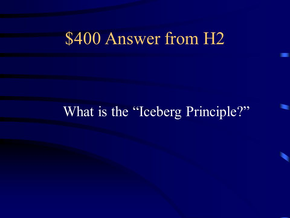 $400 Answer from H2 What is the Iceberg Principle
