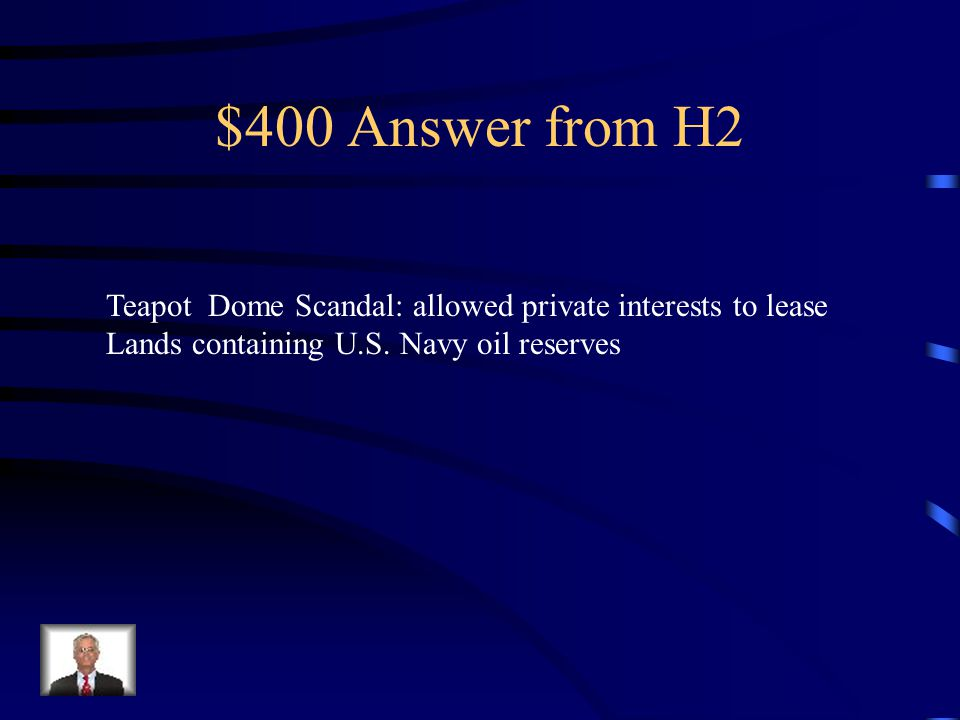 $400 Question from H2 The biggest scandal of the Harding Administration Involved his Secretary of State Albert B.