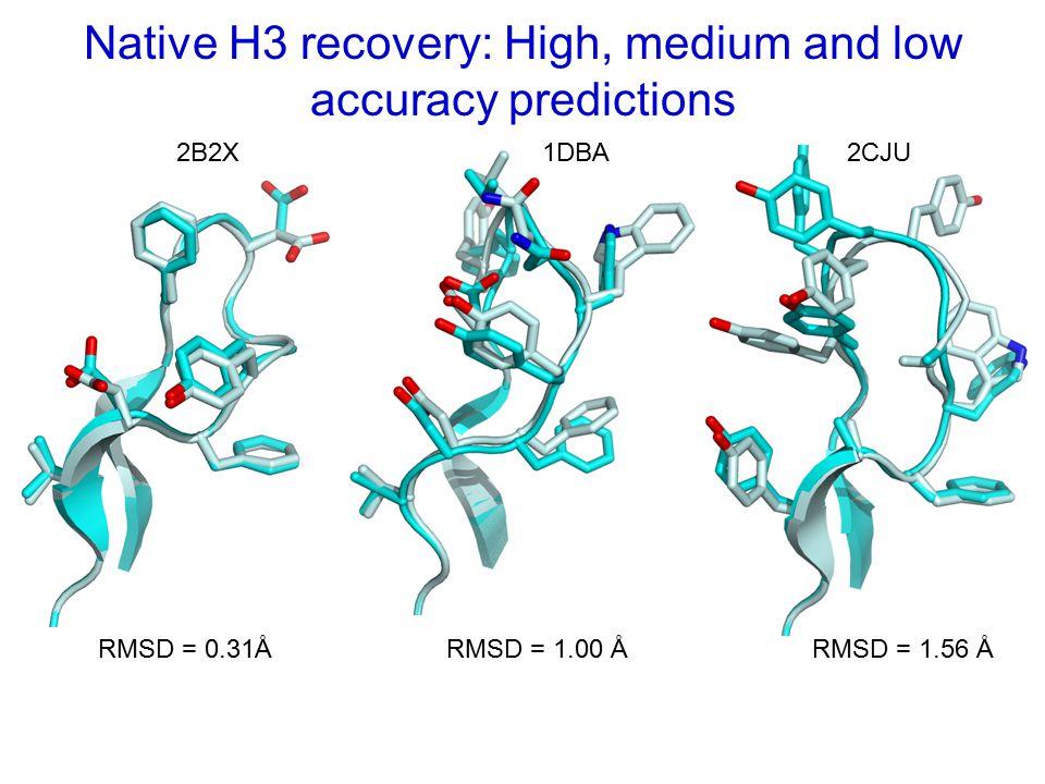 Native H3 recovery: High, medium and low accuracy predictions 2B2X1DBA2CJU RMSD = 0.31ÅRMSD = 1.00 ÅRMSD = 1.56 Å