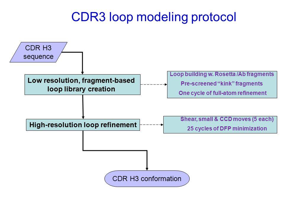 CDR3 loop modeling protocol Low resolution, fragment-based loop library creation High-resolution loop refinement Loop building w.