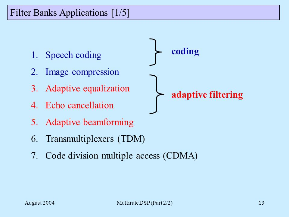 August 2004Multirate DSP (Part 2/2)13 Filter Banks Applications [1/5] 1.Speech coding 2.Image compression 3.Adaptive equalization 4.Echo cancellation 5.Adaptive beamforming 6.Transmultiplexers (TDM) 7.Code division multiple access (CDMA) coding adaptive filtering