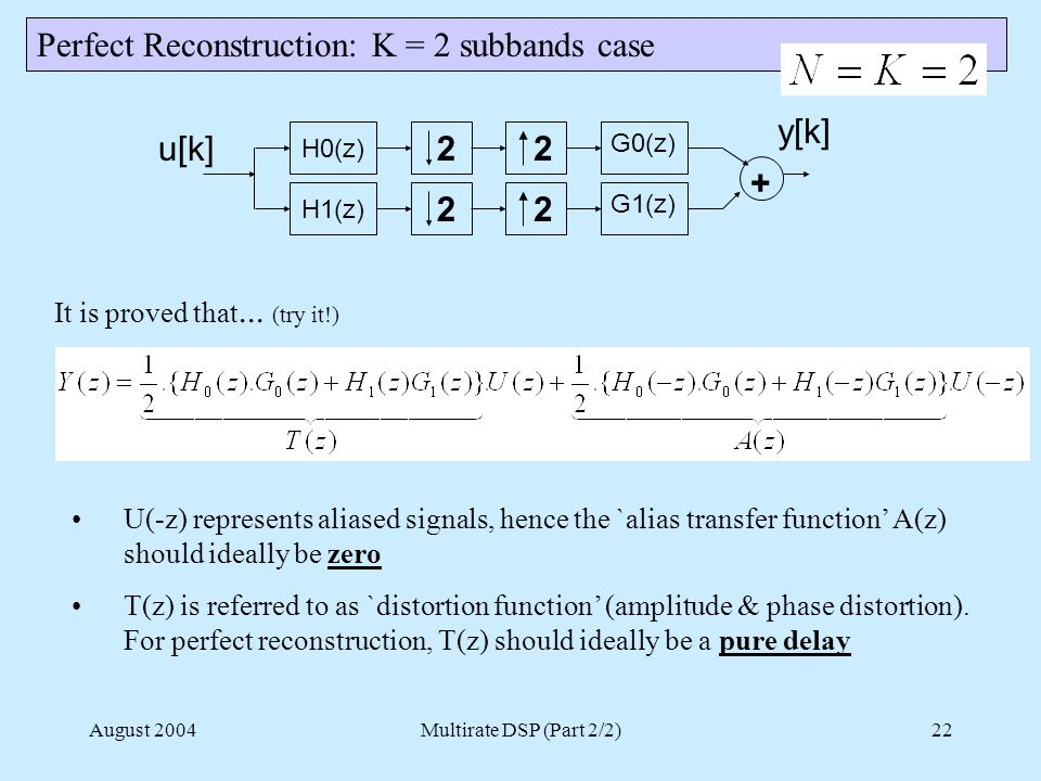 August 2004Multirate DSP (Part 2/2)22 Perfect Reconstruction: K = 2 subbands case H0(z) H1(z) 2 2 u[k]2 2 G0(z) G1(z) + y[k] It is proved that...