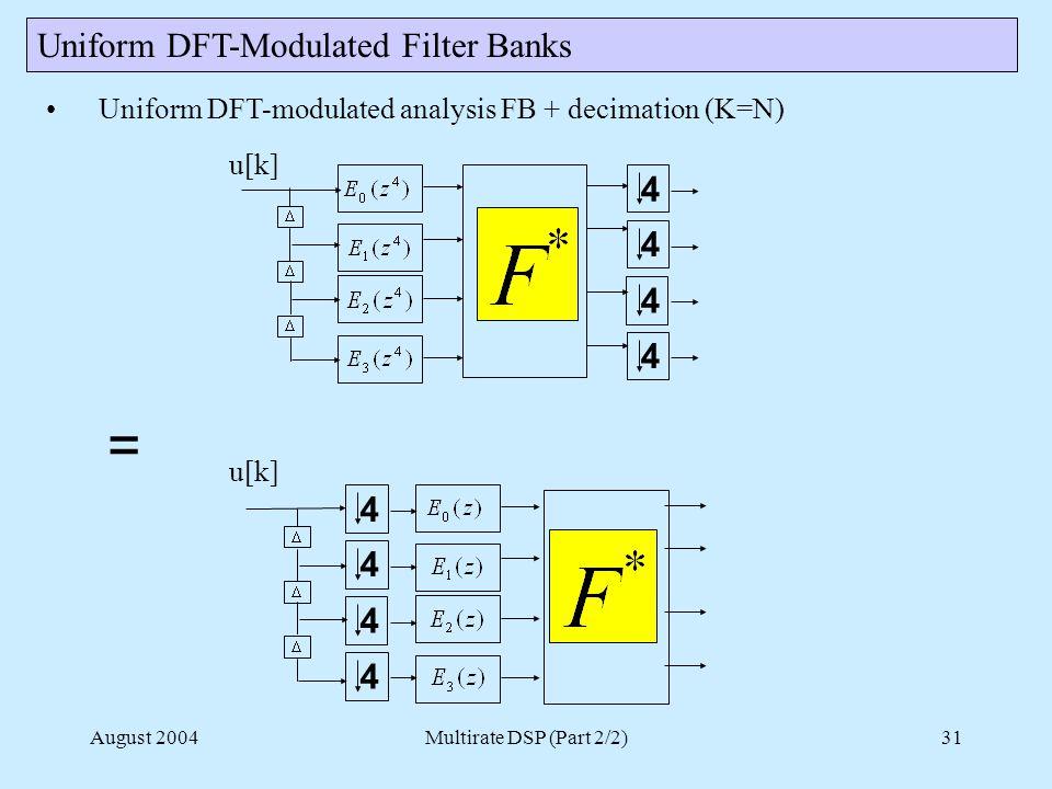August 2004Multirate DSP (Part 2/2)31 Uniform DFT-Modulated Filter Banks Uniform DFT-modulated analysis FB + decimation (K=N) 4 4 4 4 u[k] 4 4 4 4 =