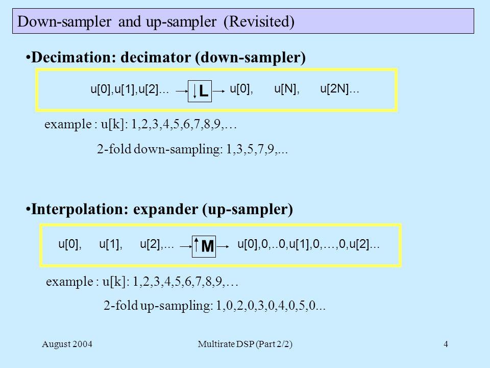 August 2004Multirate DSP (Part 2/2)4 Decimation: decimator (down-sampler) example : u[k]: 1,2,3,4,5,6,7,8,9,… 2-fold down-sampling: 1,3,5,7,9,...