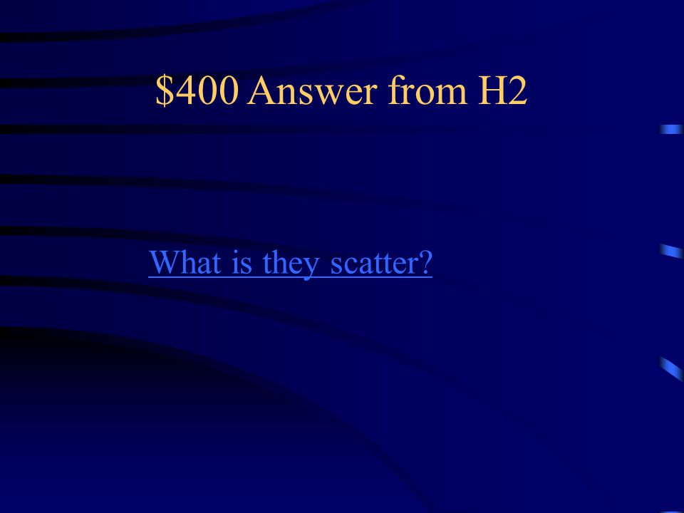$400 Question from H2 This happens when light particles hit an uneven surface.