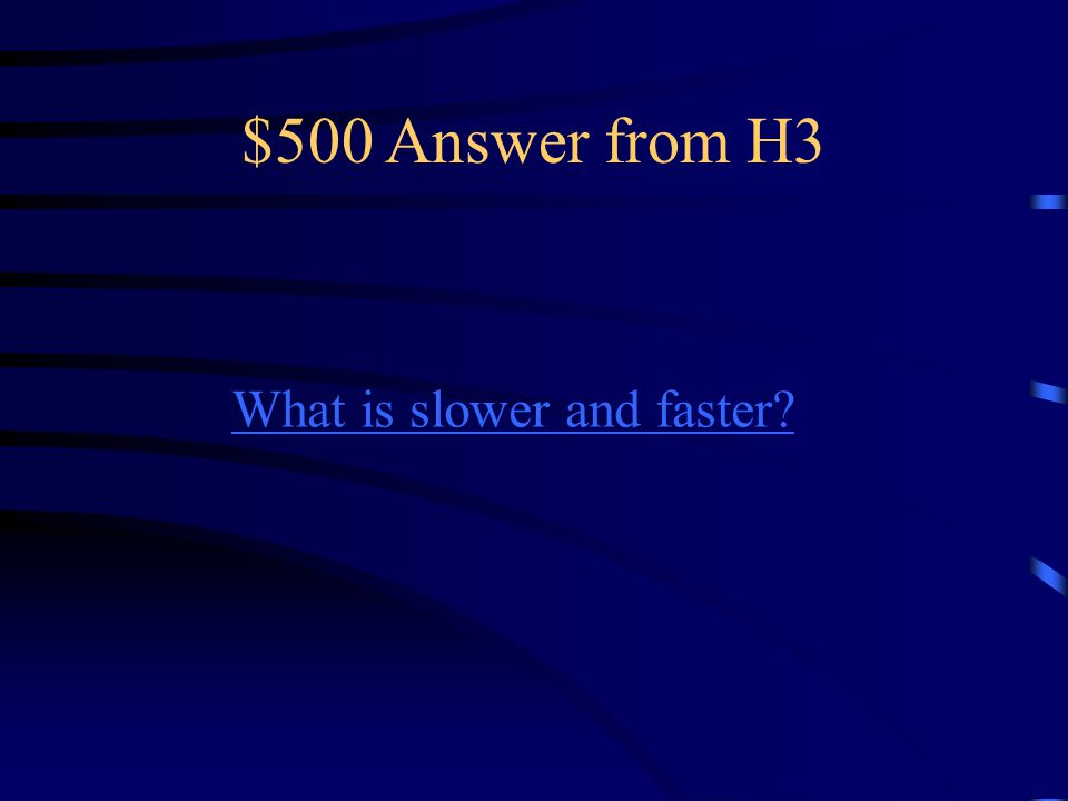 $500 Question from H3 Sound moves _________ at low Temperatures and __________ at High temperatues.