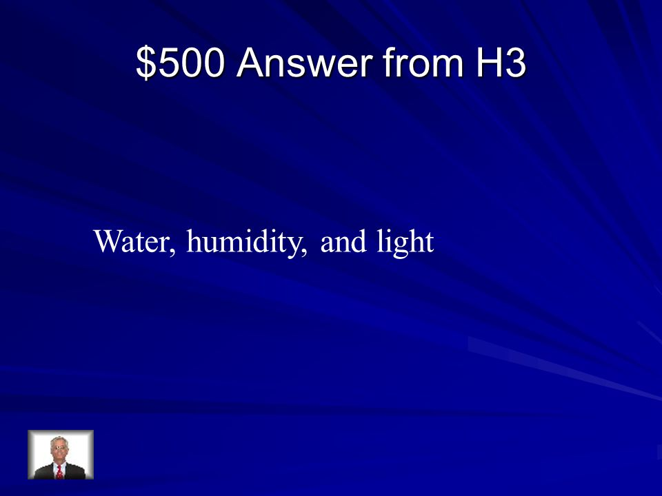 $500 Answer from H3 Water, humidity, and light