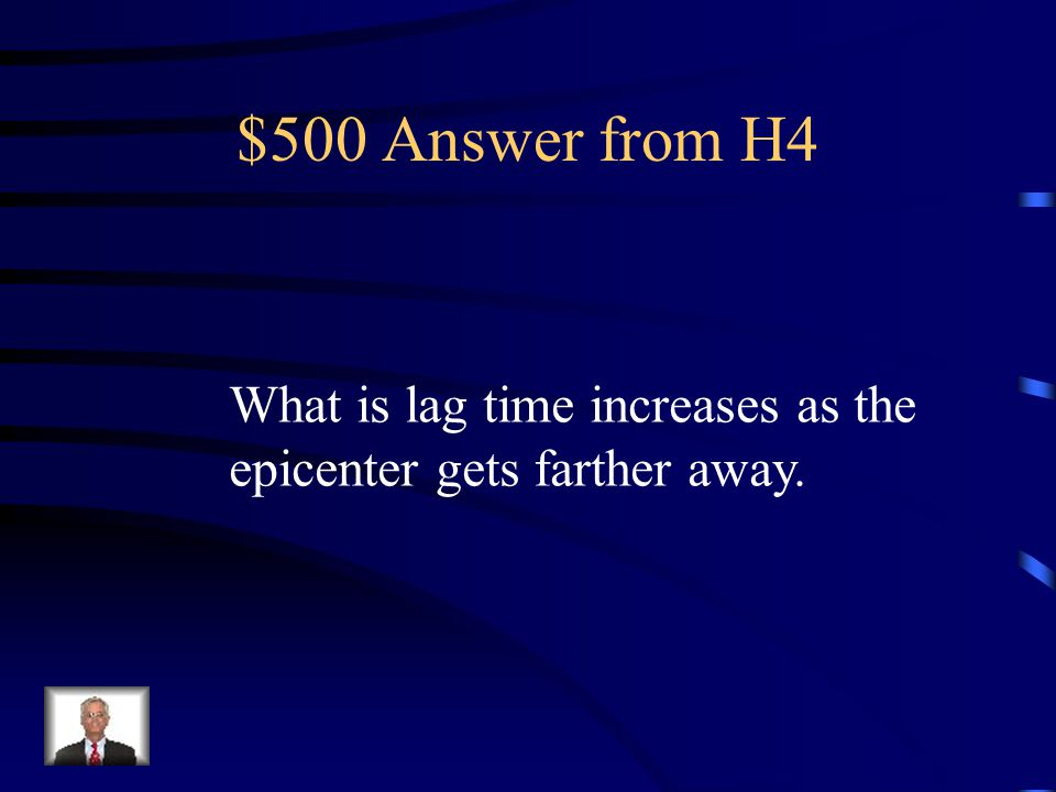 $500 Question from H4 This is the connection between the seismograph S-P lag time and the distance to the epicenter.